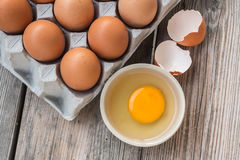 Eggs and Egg yolk in paper tray Stock Images