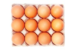 Eggs. In a paper package on white background Royalty Free Stock Photo