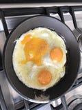 Eggs el lado soleado encima de 3 yemas de huevo Fotos de archivo libres de regalías