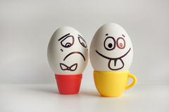 Eggs emotion concept. Eggs face. Photo for design Royalty Free Stock Photo