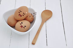 Eggs in Expression Face comic. Stock Photos