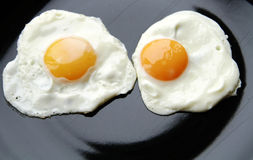 Eggs face. Two fried eggs on the black plate looking like face Royalty Free Stock Photos