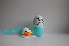 Eggs with face. Concept of discontent Royalty Free Stock Images