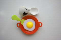 Eggs with face. Concept of unrestrained. Fun. Photo for your design Royalty Free Stock Image