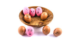 Eggs face with emotion Stock Photos