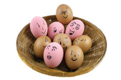 Eggs face with emotion Stock Images