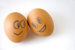 Eggs face lover. Eggs faces of lover looking each other Royalty Free Stock Images