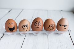 Eggs Faces, drawnigs on egg, Easter eggs royalty free stock photos