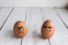 Eggs Faces, drawnigs on egg, Easter eggs, rabbit eggs royalty free stock photo