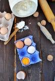 Eggs and farina. For baking Stock Photos