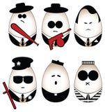 Eggs figure. (mafia, offender, policeman, divine, prisoner vector illustration