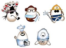 Eggs figure. (redskin, pilot, fireman, cook, eskimo Stock Images