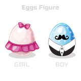 Eggs Figure, cartoon easter girl and boy Royalty Free Stock Images