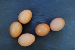 Eggs. Five eggs on slate board. Prepared for next use in the kitchen stock photos
