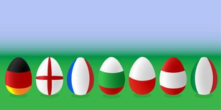 Eggs flags on green meadow stock illustration