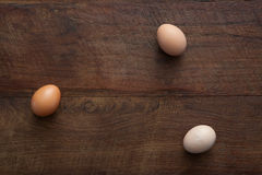 Eggs Flat Lay Wooden Table Royalty Free Stock Photography