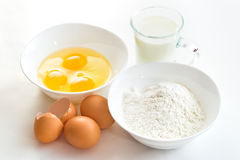 Eggs flour and milk Stock Photos