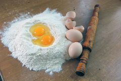 Eggs and flour Stock Photography