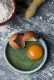 Eggs, flour and rolling pin Royalty Free Stock Photos