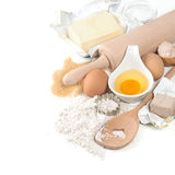 Eggs, flour, sugar, butter, yeast. dough preparation Stock Image