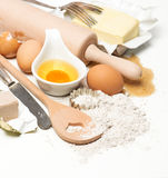 Eggs, flour, sugar, butter, yeast. dough preparation Royalty Free Stock Photos