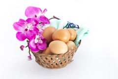 Eggs with flower stock photos