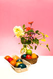 Eggs and Flowers. Traditional Easter still life with eggs and spring flowers Stock Photos