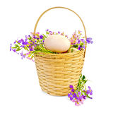 Eggs with flowers in a wicker basket Royalty Free Stock Photo