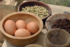 Eggs and food in bowl Royalty Free Stock Photos