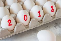 Eggs For The New Year With The Inscription 2018 Royalty Free Stock Photo