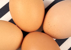 Eggs. Four brown eggs on a tablecloth Stock Photo
