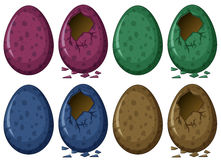 Eggs in four colors Stock Photos