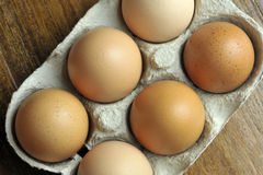 Eggs. Free range brown eggs in a recycled paper moulded or molded pulp cardboard egg box packaging Royalty Free Stock Photo