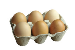 Eggs. Free range brown eggs in a recycled paper moulded or molded pulp cardboard egg box packaging Stock Photography