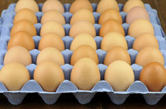 Eggs. Free range brown eggs on a recycled paper moulded or molded pulp cardboard egg tray packaging with individual compartments for single eggs Royalty Free Stock Photo