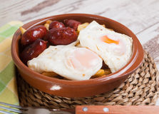 Eggs with french fries and small sausages Stock Photography