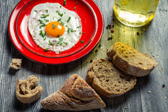 Eggs and fresh bread for breakfast Stock Images