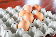 Eggs. Fresh eggs in container can be used as a background Stock Photo