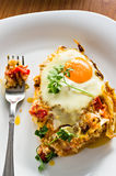 Eggs fried and fork Stock Photo