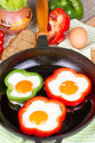 Eggs fried in a pepper Royalty Free Stock Photography