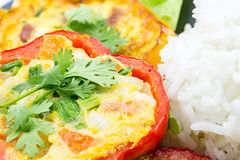 eggs fried in the ring of sweet pepper. Royalty Free Stock Photo