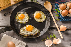 Eggs fried rustic style Royalty Free Stock Image