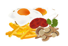 Eggs, fries and mushrooms vector Stock Photography