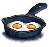 Eggs in a frying pan vector illustration