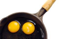 Eggs in Frying Pan Stock Photo
