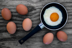 Eggs and frying pan background Royalty Free Stock Photography