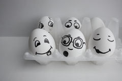 Eggs are funny with faces. Surprise and admiration Royalty Free Stock Photography