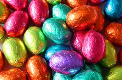 Eggs Galore. Chocolate Eggs in multi Coloured foiled wrapping stock photo