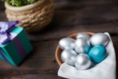 Eggs and gift Royalty Free Stock Photos