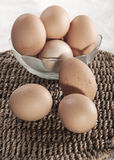 Eggs in glass bowl Royalty Free Stock Photos